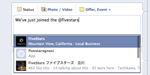 Tag FiveStars on Facebook