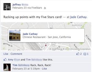 connect fivestars card to facebook social media customer loyalty card program